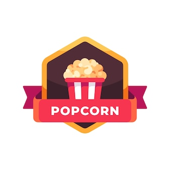 Striped popcorn bucket. fast food label