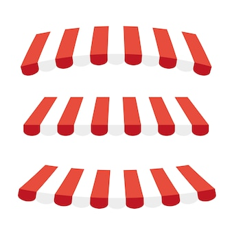 Striped red and white sunshade for shops, cafes and street restaurants