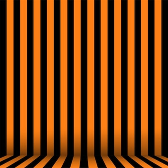 Striped room in orange and black for halloween. vector