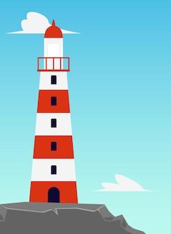 Полосатый морской маяк или красно-белая башня маяка на берегу моря, плоские векторные иллюстрации шаржа