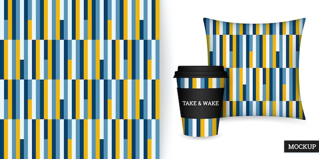 Striped seamless pattern cup and cushion