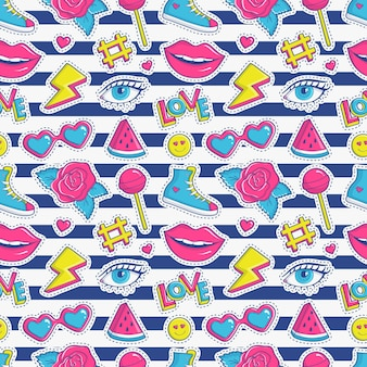 Striped seamless pattern with colorful patch badges. fashion background in white, pink, blue and yellow colors.