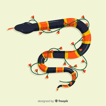 Striped snake with flower vine background