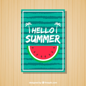 Striped summer card with watermelon portion