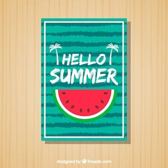 Полосатая летняя открытка с порцией арбуза