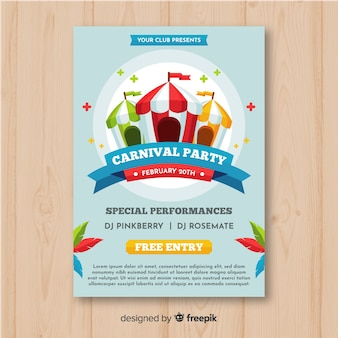 Striped tents carnival party poster