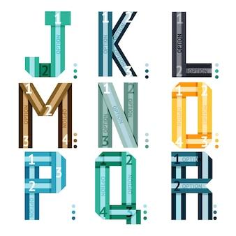 アルファベットと数字のオプションとストライプが付いたストライプの大文字フォント