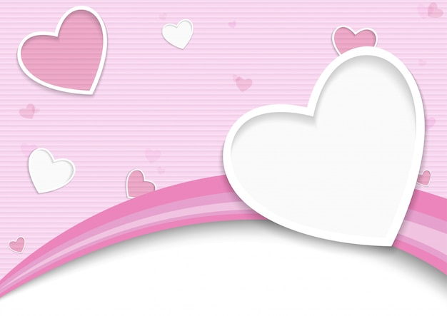 Striped valentine background with hearts