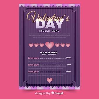 Striped valentine menu template