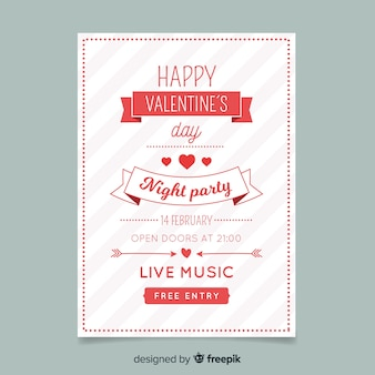 Striped valentine party poster template