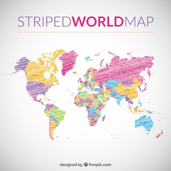 World map with countries vectors photos and psd files free download striped world map gumiabroncs Gallery