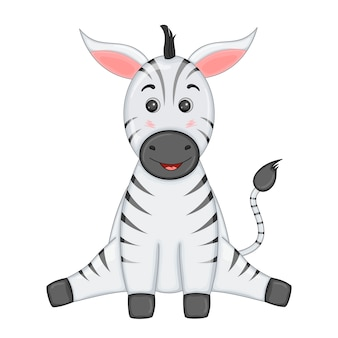Striped zebra sits legs apart and smiles