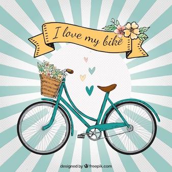 자전거와 빈티지 스타일의 줄무늬 배경
