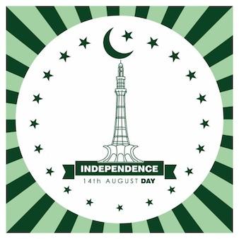 파키스탄 독립 기념일의 줄무늬 배경