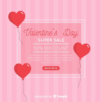Stripes and balloons valentine sale background