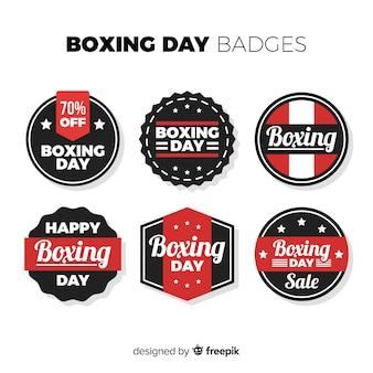 Collezione di badge di vendita al giorno di boxe strisce