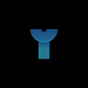 Stripes y letter logo in glowing techno blue color. logo template