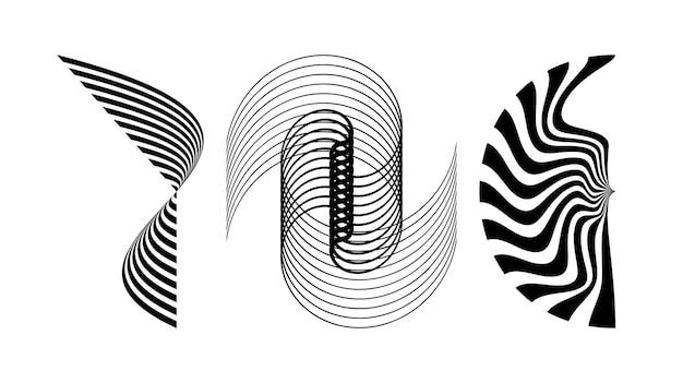 Обрезанные абстрактные элементы черных линий. оптическая иллюзия. векторная иллюстрация.