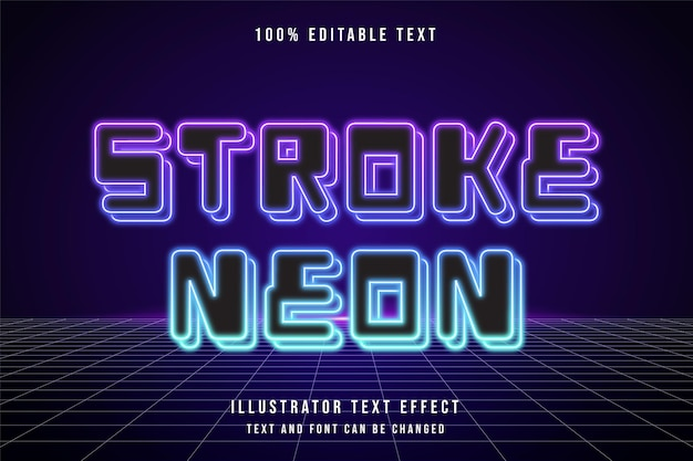 Stroke neon,3d editable text effect purple gradation pink blue neon style effect