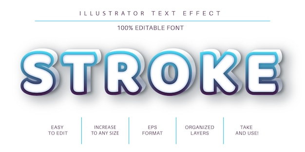 Stroke text effect, font style