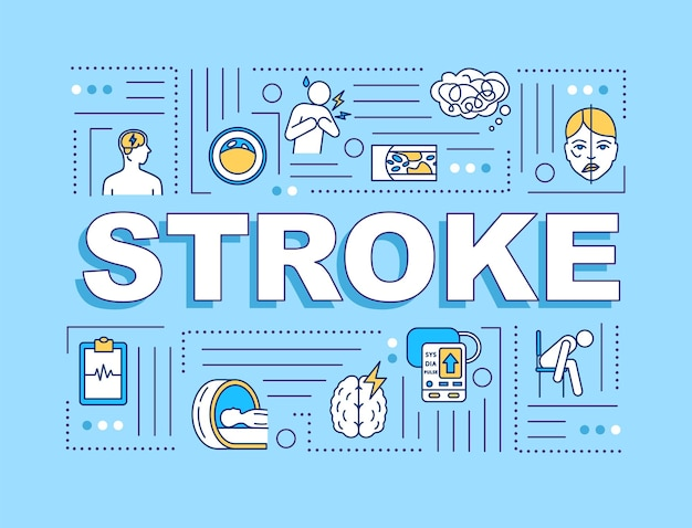 Stroke word concepts banner. cardiovascular disease. brain injury. infographics with linear icons on light blue background. isolated typography. vector outline rgb color illustration