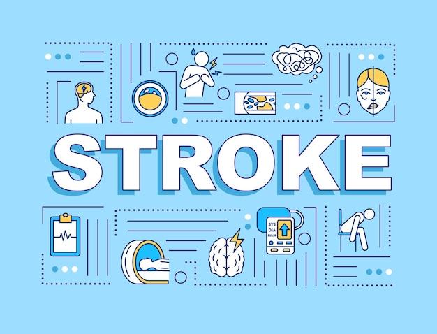 스트로크 단어 개념 배너입니다. 심혈관 질환. 뇌 손상. 밝은 파란색 배경에 선형 아이콘이 있는 인포그래픽. 고립 된 인쇄 술입니다. 벡터 개요 rgb 컬러 일러스트