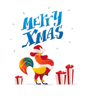 Strokesvector flat illustration of rooster in santa claus costume.