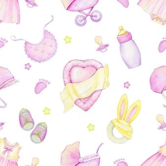 ベビーカー、ベッド、星、おしゃぶり、靴、服、帽子、マグカップ、おもちゃ。水彩のシームレスなパターン。