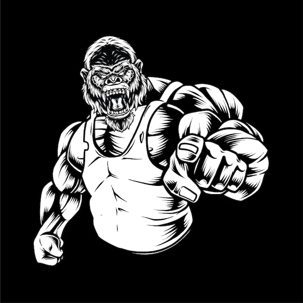 Strong ape illustration concept