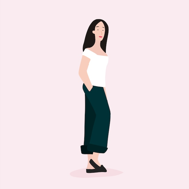 Strong asian woman full body vector