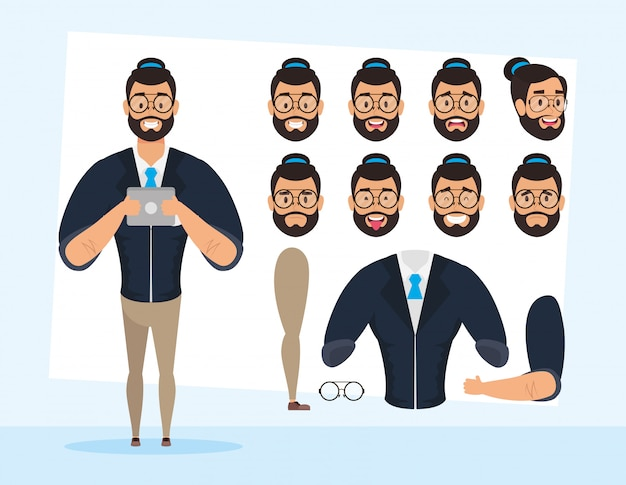 Strong beard man with set faces character vector illustration design