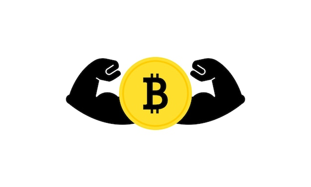 Strong bitcoin. powerful cryptocurrency. banking. vector on isolated white background. eps 10.