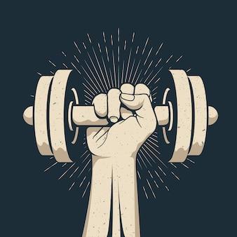 Strong bodybuilder man arm holding dumbbell doing lift exercise isolated on dark background.