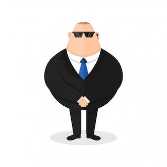 Strong bodyguard, security guard. young sick man cough