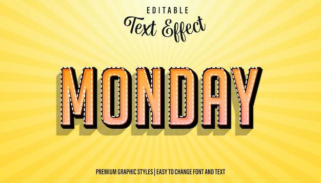 Редактируемый текстовый эффект, стиль шрифта понедельника strong bold font