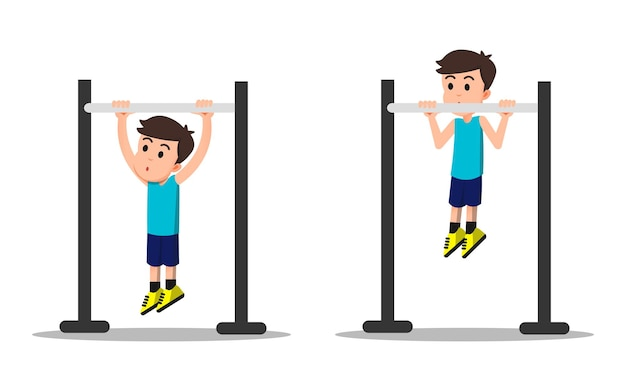 A strong boy doing pull ups