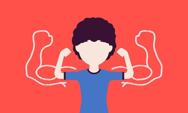 팔뚝을 과시하는 강한 소년. 남학생 운동선수는 근육으로 감동을 주려고 노력하고, 아이는 스포츠, 건강한 생활 방식을 즐깁니다. 얼굴 없는 문자로 벡터 일러스트 레이 션