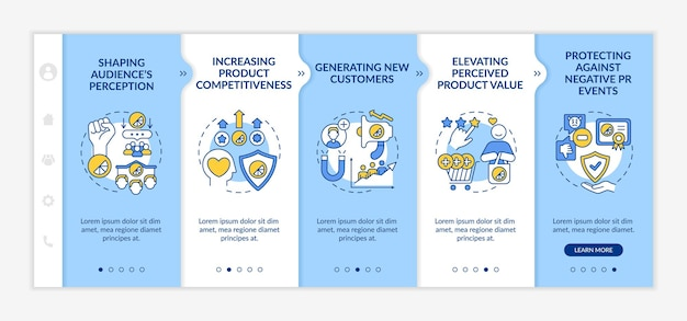 강력한 브랜드 아이덴티티의 장점은 온보딩 벡터 템플릿입니다. 아이콘이 있는 반응형 모바일 웹사이트입니다. 웹 페이지 연습 5단계 화면. 선형 일러스트레이션으로 제품 가치를 높이는 색상 개념