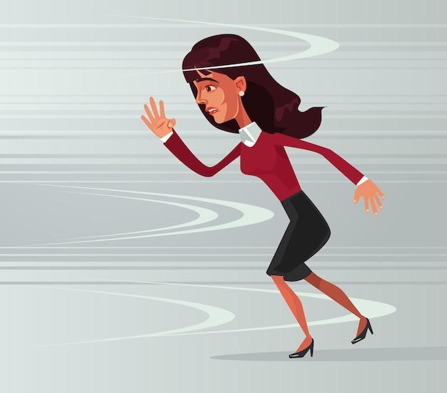 Характер офисного работника сильной храброй деловой женщины идет против ветра