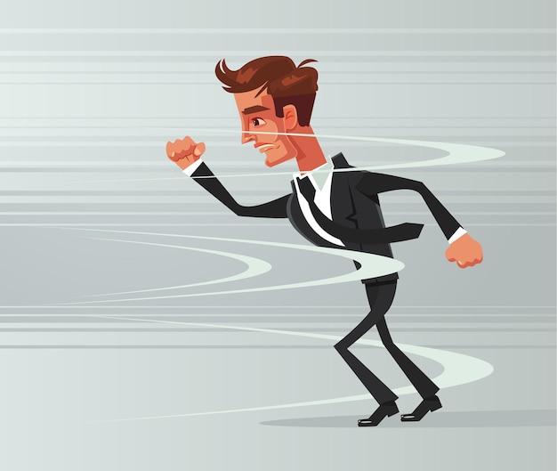 강한 용감한 사업가 회사원 캐릭터는 바람에 대항합니다.