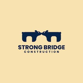 Сильный дизайн логотипа моста. концепция - слияние двух сильных медведей