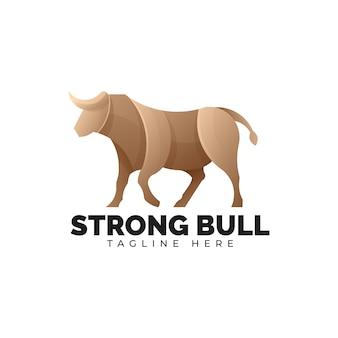 強力な牛のロゴのテンプレート