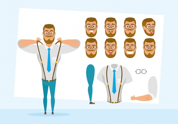 Strong business man with set faces character vector illustration design