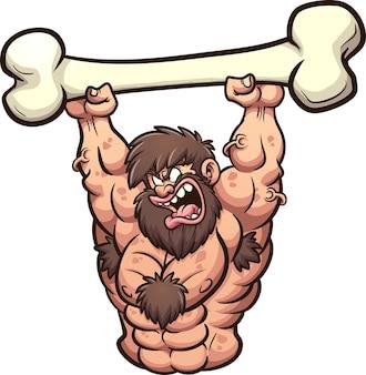 Сильный мультяшный пещерный человек, поднимающий большую кость