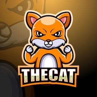 Strong cat mascot esport illustration