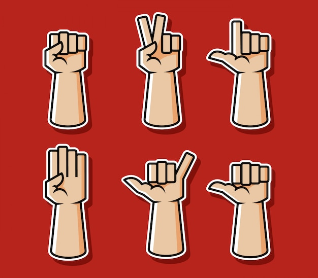 Strong comic style hand gesture vector illustration set.
