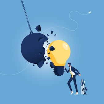 Strong creative idea metaphor and creativity strength as a wrecking ball destroyed by a light bulb