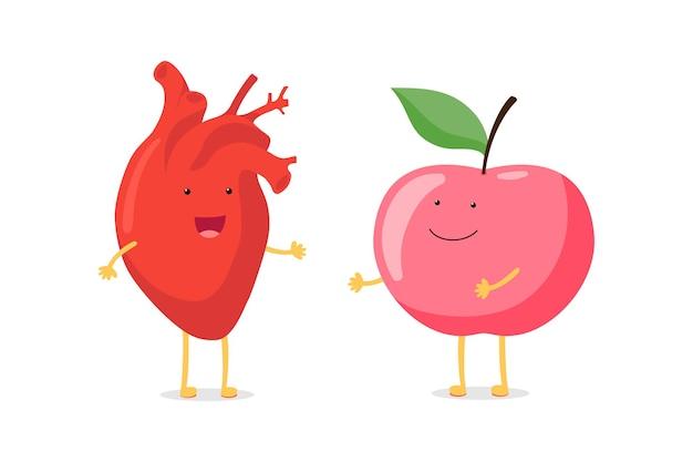빨간 사과 마스코트 벡터 플랫 만화와 함께 강한 귀여운 건강한 행복한 인간의 심장 기관 캐릭터