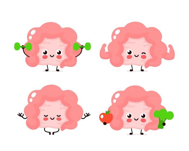 Strong cute healthy happy human intestine organ character set