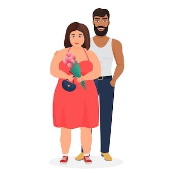 강한 어두운 피부 남자와 뚱뚱한 백인 여자 커플